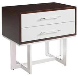 Balmour Modern Classic Espresso Light Grey Wood Steel Nightstand