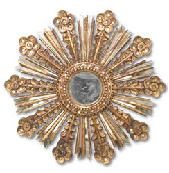 Sonrisa Global Bazaar Gold Sunburst Antique Wall Mirror