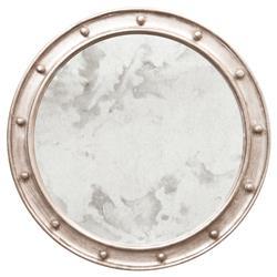 Argonaut Hollywood Regency Champagne Silver Round Antique Wall Mirror