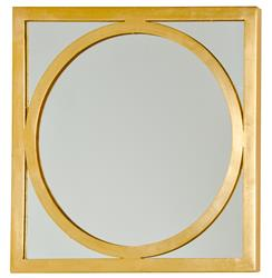 Ovation Hollywood Regency Gold Square Circle Wall Mirror