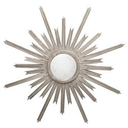 Vector Hollywood Regency Silver Sunburst Antique Wall Mirror