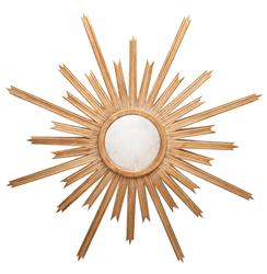 Vector Hollywood Regency Gold Sunburst Antique Wall Mirror