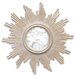 Mitzi Hollywood Regency Silver Sun Antique Wall Mirror
