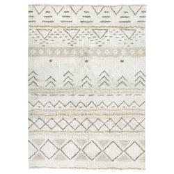 "Lorena Canals Lakota Global White Wool Geometric Patterned Rug - 4'7""x6'7"""