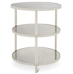Trilogy Hollywood Regency 3 Tier Nickel Antique Mirror Side Table