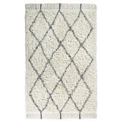 "Lorena Canals Berber Modern Classic White Wool Diamond Shag Rug - 4'7""x6'7"""