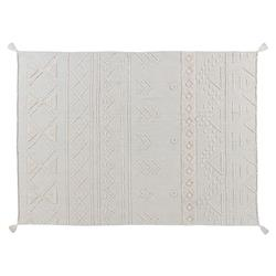 Lorena Canals Tribu Global White Cotton Tribal Patterned Rug - 4'7''x6'7''
