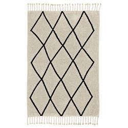 Lorena Canals Bereber Modern Beige Cotton Diamond Patterned Rug - 4'7''x6'7''