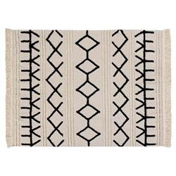 Lorena Canals Bereber Canvas White Cotton Ethnic Patterned Rug - 4'7''x6'7''
