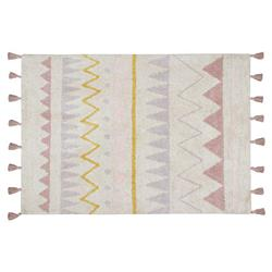 """Lorena Canals Azteca Modern Classic White Cotton Pink Patterned Rug - 4'x5'3"""""""