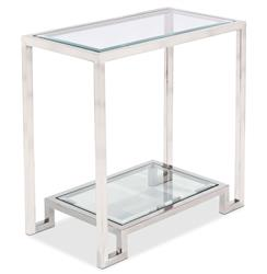 Hutton Hollywood Regency Glass Nickel Side Table