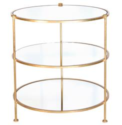 DeMille Hollywood Regency Gold Round Side Table