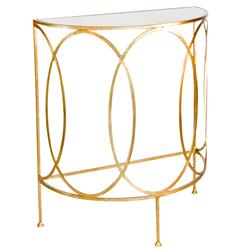Gibbous Hollywood Regency Demilune Gold Console Table