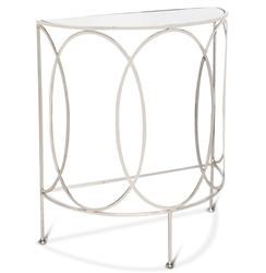 Gibbous Hollywood Regency Demilune Nickel Console Table