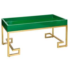 DaVinci Hollywood Regency Green Gold Coffee Table