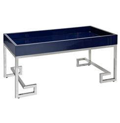 DaVinci Hollywood Regency Navy Blue Silver Coffee Table