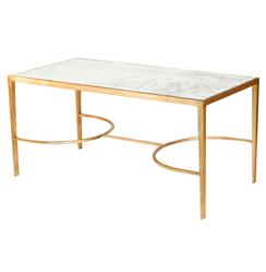 Pamela Hollywood Regency Gold Antique Mirror Coffee Table