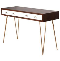 Hairpin Hollywood Regency White Walnut Wood Console Desk