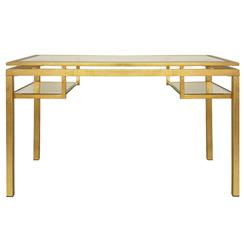 Cordoba Hollywood Regency Glass Gold Leaf Desk