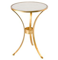Pfeiffer Hollywood Regency Gold Antique Mirror Side Table