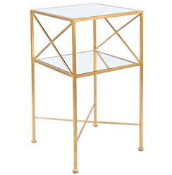 Penelope Hollywood Regency Gold Mirror Side Table