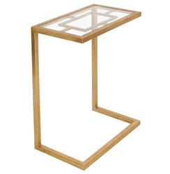 Kennedy Hollywood Regency Gold Glass Side Table
