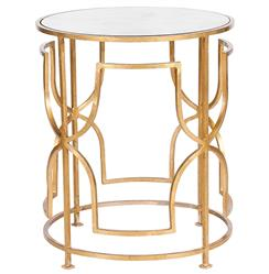 Glenda Hollywood Regency Round Gold Antique Mirror Side Table