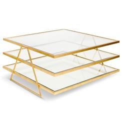 Destiny Hollywood Regency Gold Glass 3 Tier Coffee Table