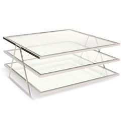 Destiny Hollywood Regency Nickel Glass 3 Tier Coffee Table
