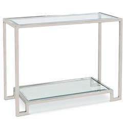 Hutton Hollywood Regency Glass Silver Console Table
