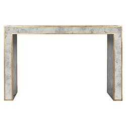 Spencer Hollywood Regency Antique Gold Mirror Console Table