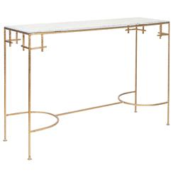 Turlington Hollywood Regency White Marble Gold Console Table