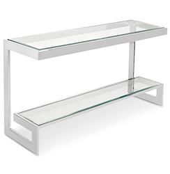 Sandra Hollywood Regency Nickel Glass Console Table - 55 Inch