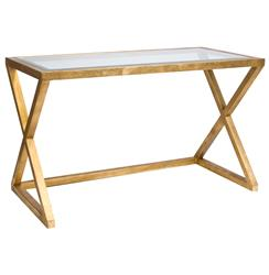 Vanessa Hollywood Regency Gold Leaf Glass Desk