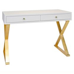 Keating Hollywood Regency White Lacquer Gold Small Desk
