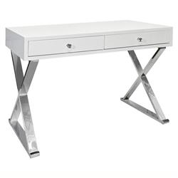 Keating Hollywood Regency White Lacquer Stainless Steel Desk