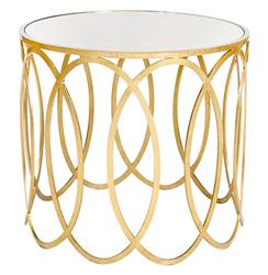 Ovation Hollywood Regency Gold Mirror Side Table