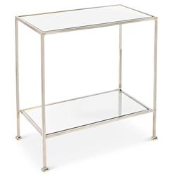 Baldwin Hollywood Regency Nickel Mirror 2 Tier Side Table