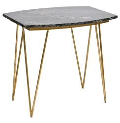 Piazza Hollywood Regency Black Marble Gold Side Table