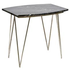 Piazza Hollywood Regency Black Marble Silver Side Table