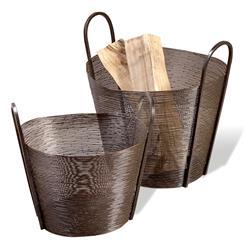 Astor Contemporary Modern Metal Woven Mesh Baskets- Antique Bronze