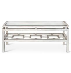 Klee Hollywood Regency Silver Leaf Glass Coffee Table