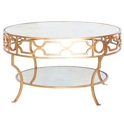 Chastity Hollywood Regency Gold Antique Mirror 2 Tier Side Table