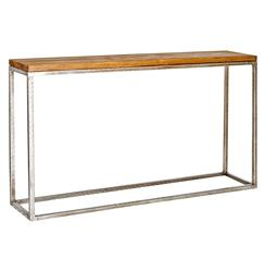 Ozark Industrial Loft Distressed Wood Silver Console Table