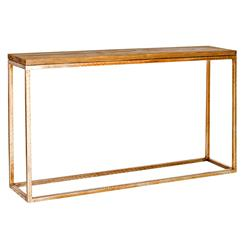 Ozark Industrial Loft Distressed Wood Gold Console Table