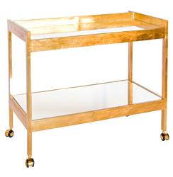 Gia Hollywood Regency Gold Mirror 2 Tier Serving Bar Cart