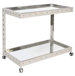 Beaufort Hollywood Regency Stainless Steel Mirror Serving Bar Cart