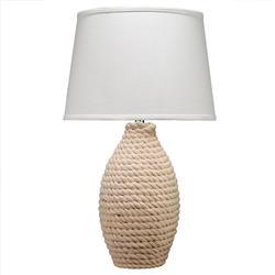 Alina Coastal Beach White Linen Shade Rope Table Lamp