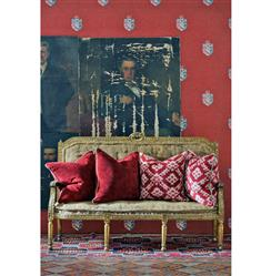 Crest Trellis British Motif Wallpaper - Red - 2 Rolls