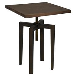 James Industrial Loft Metal Wood Adjustable Height Side Table